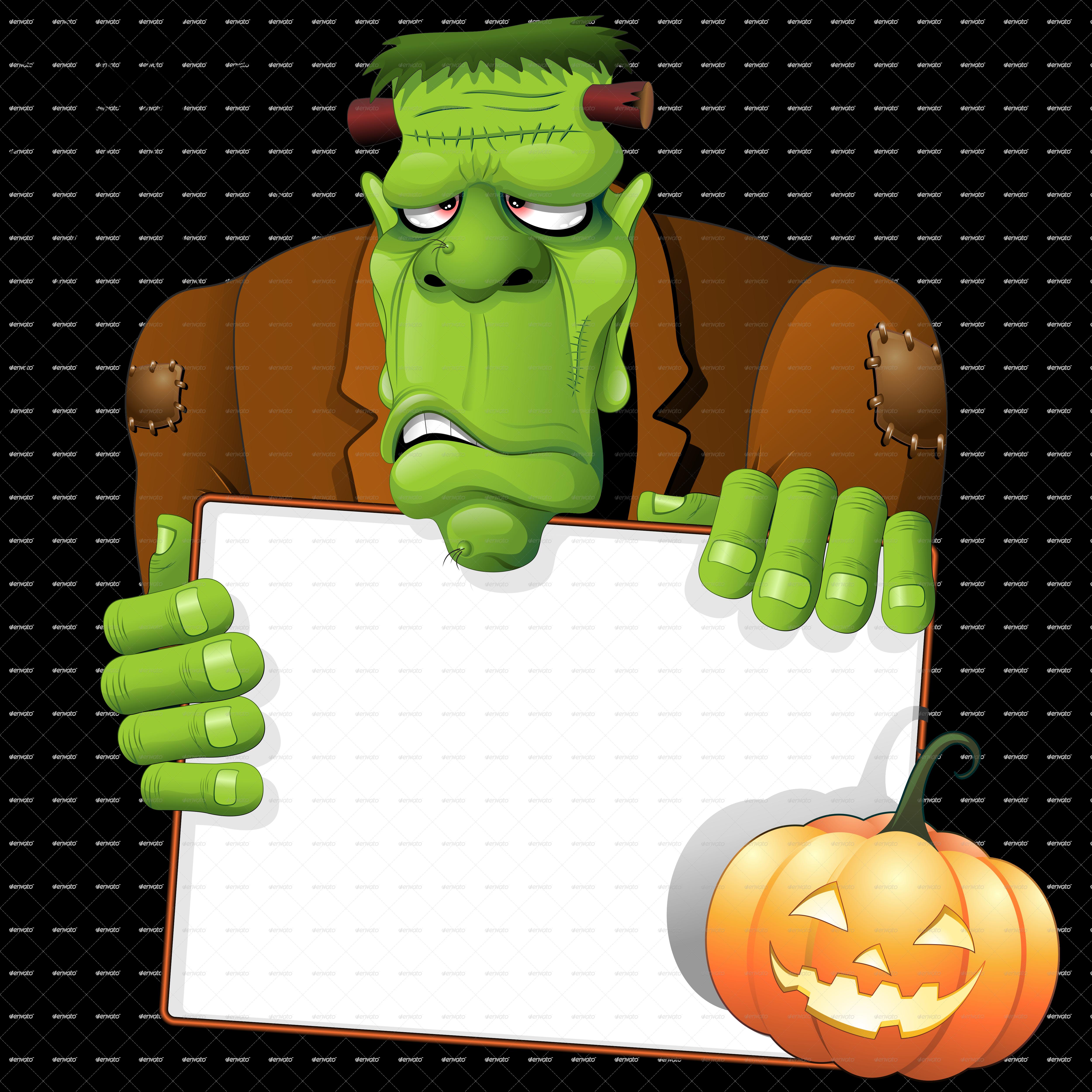 Frankenstein Cartoon With White Panel And Pumpkin By Bluedarkat