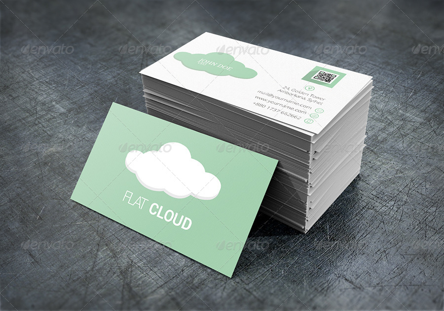 Flat Cloud Business Card Creative Cards 01 Preview Jpg