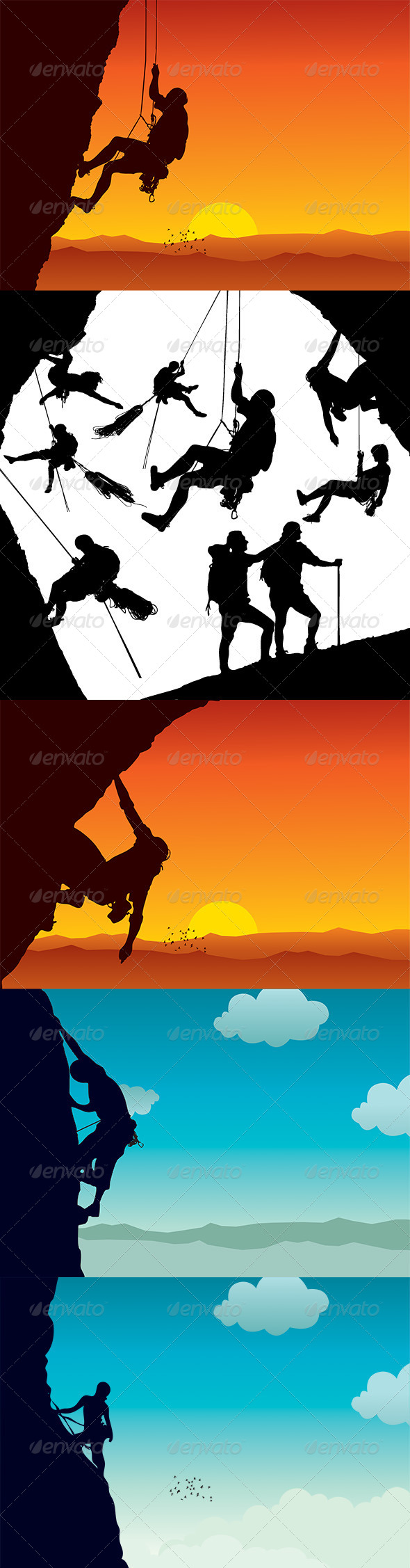 Vector Climber Silhouettes - Sports/Activity Conceptual
