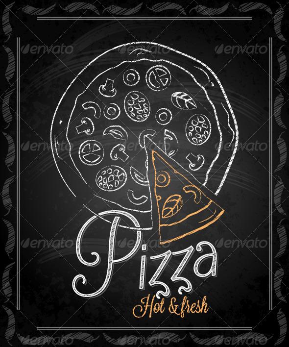 Chalkboard Framed Pizza Menu By Pushkarevskyy Graphicriver