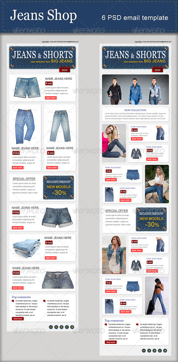 Jeans Shop - PSD Email Template - E-newsletters Web Elements