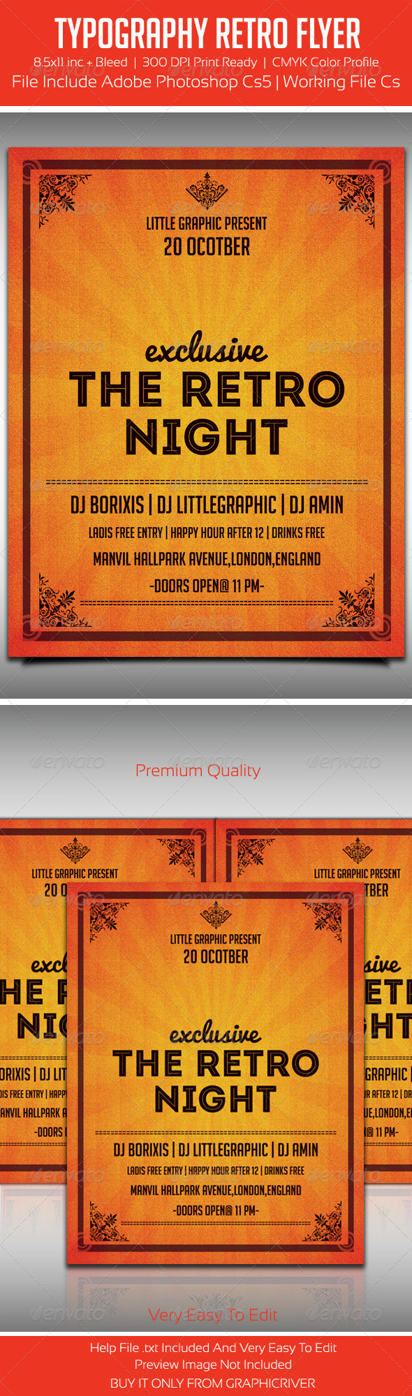 Typography Retro Party Flyer Template - Flyers Print Templates