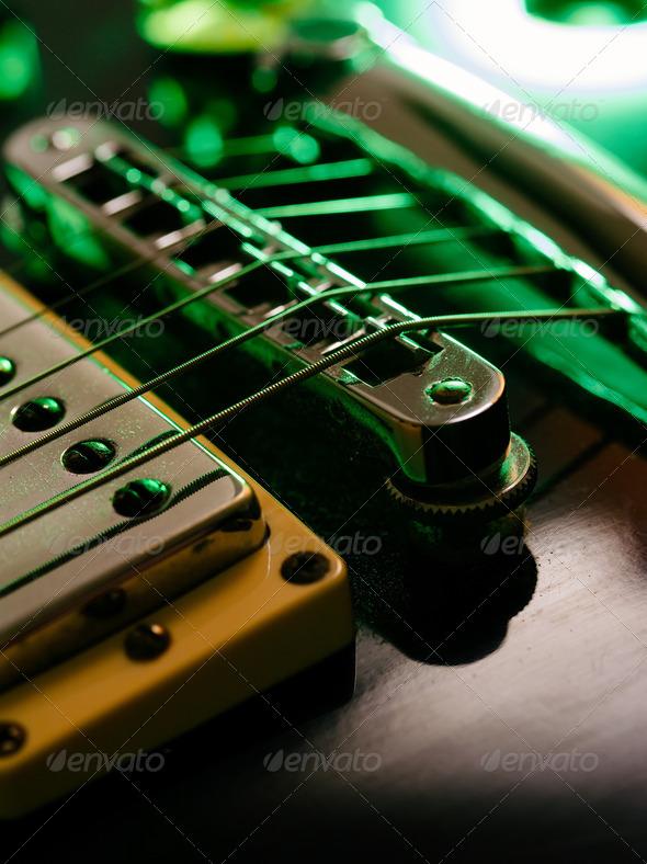 Electric guitar strings and bridge macro - Stock Photo - Images