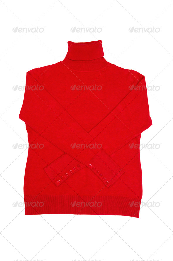 Fashionable red sweater on a white. - Stock Photo - Images
