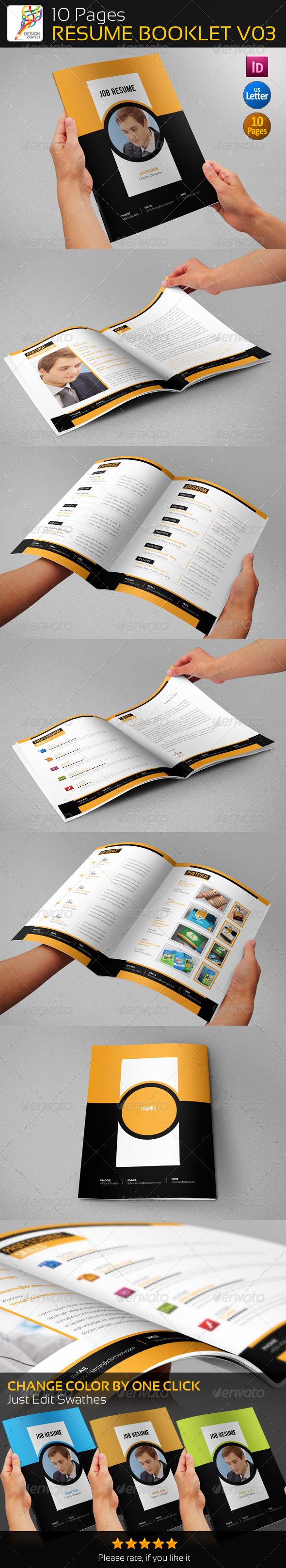 10 Pages Professional Resume Booklet V03