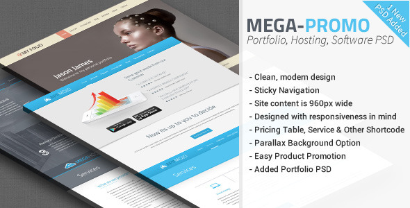 Mega - Hosting, Software Promotion PSD  - Technology PSD Templates
