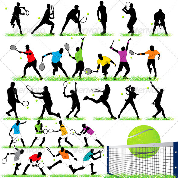 27 Tennis Players Silhouettes Set - Sports/Activity Conceptual