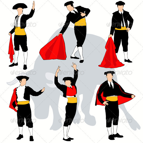 Toreadors Silhouettes Set - People Characters