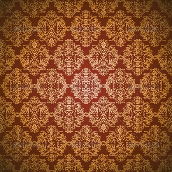 Gold Seamless Lace Pattern On Red Background