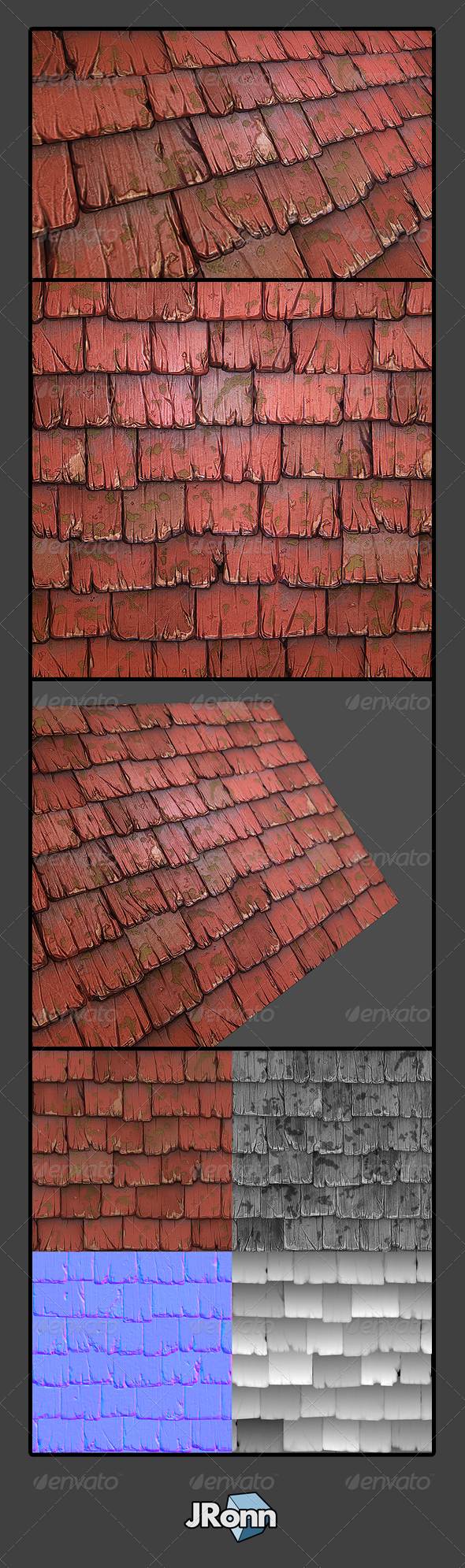 Wooden Roof Tile 01 - 3DOcean Item for Sale