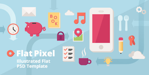 Flat Pixel – Illustrated PSD Template