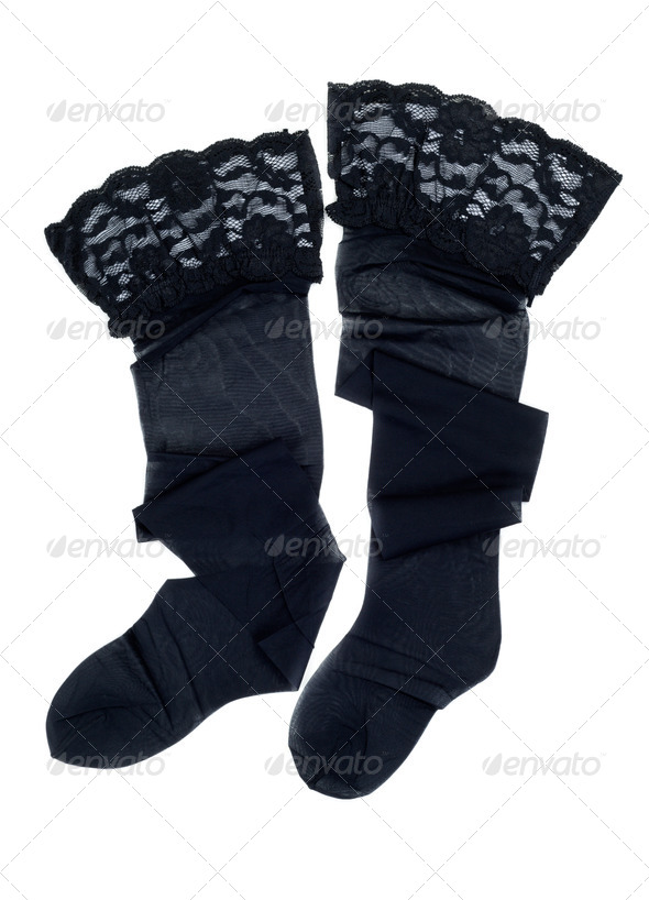 black stockings with lace elastic - Stock Photo - Images