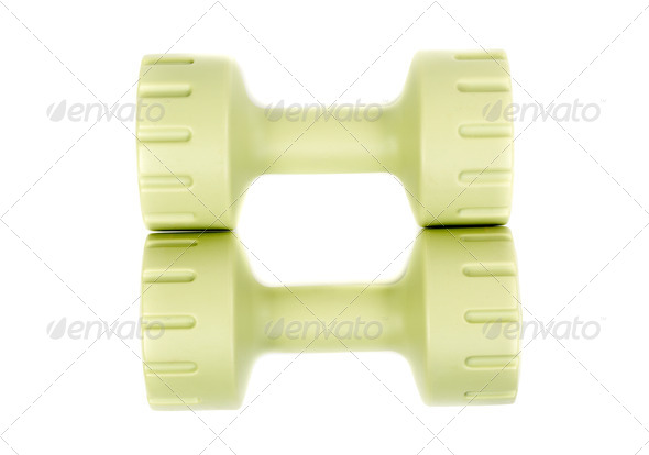 Two green dumbbell - Stock Photo - Images