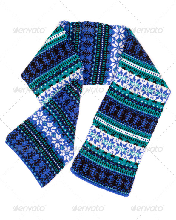 warm scarf with Scandinavian design - Stock Photo - Images
