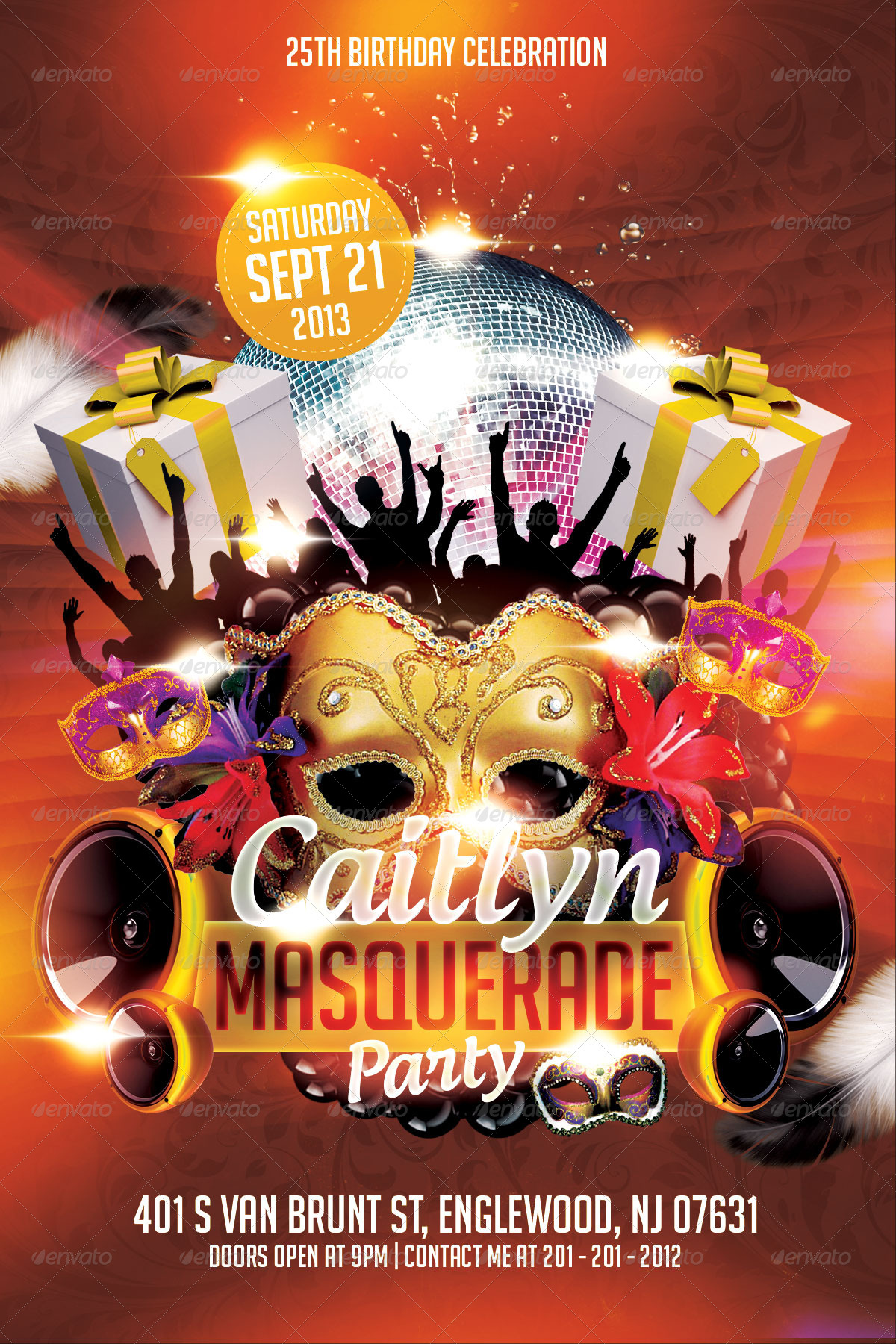 masquerade birthday party flyer template clubs parties events 01 previewjpg