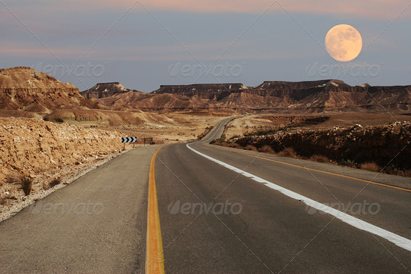 Narrow highway running through desert in Israel. - Stock Photo - Images