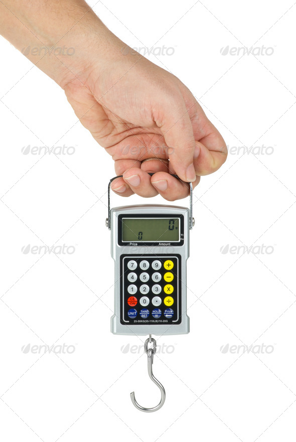 Hand hold digital fishhook scales - Stock Photo - Images