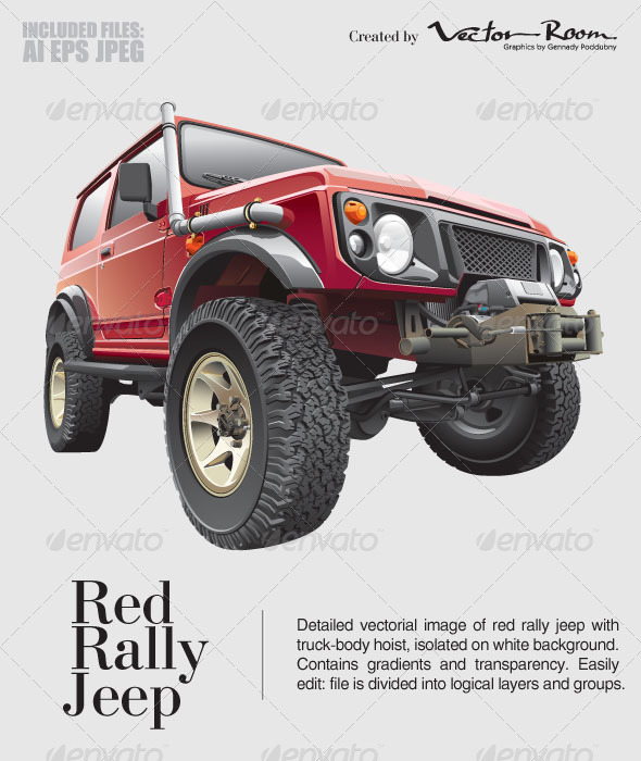 Red Rally Jeep - Vectors