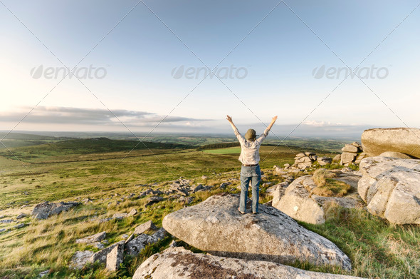 Woman Standing Tor - Stock Photo - Images