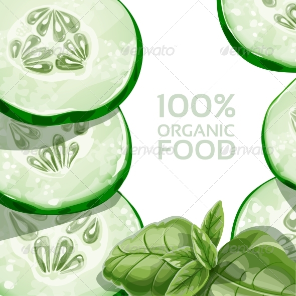 Background with Green Cucumber and Basil - Food Objects