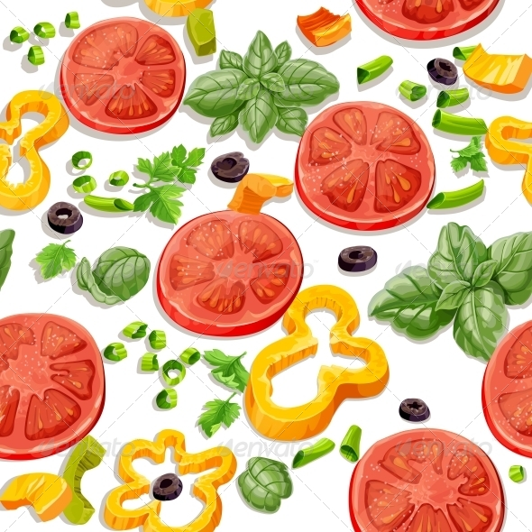 Seamless Pattern from Vegetables and Herbs - Food Objects