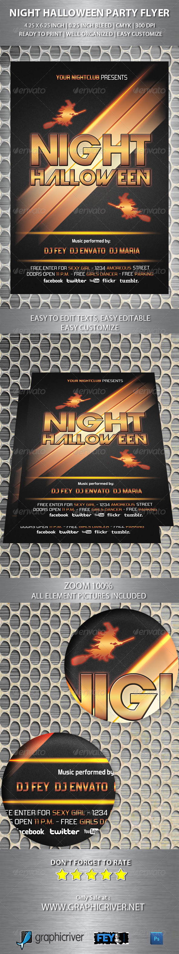Night Halloween Party Flyer