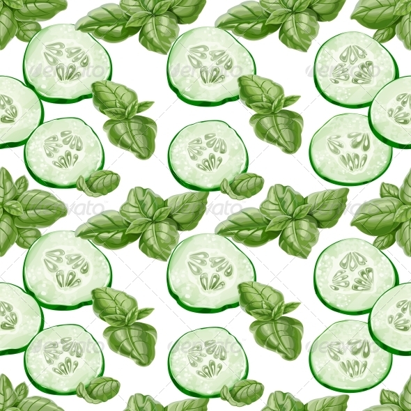 Seamless Background from Slices of Cucumber - Food Objects