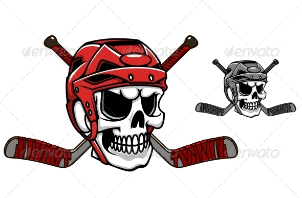Skull in Ice Hockey Helmet - Miscellaneous Characters