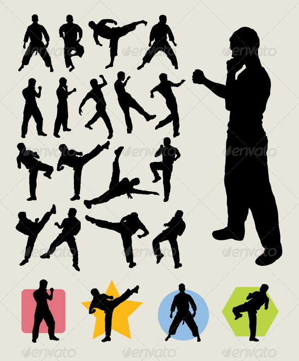 Karateka Kick Silhouettes - Sports/Activity Conceptual