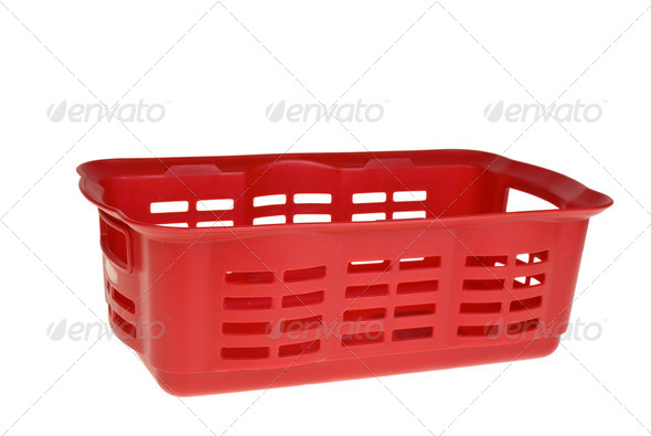 Red plastic vegetable basket - Stock Photo - Images