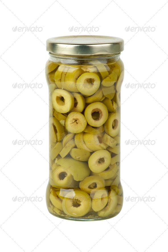 Glass jar with sliced green olives - Stock Photo - Images
