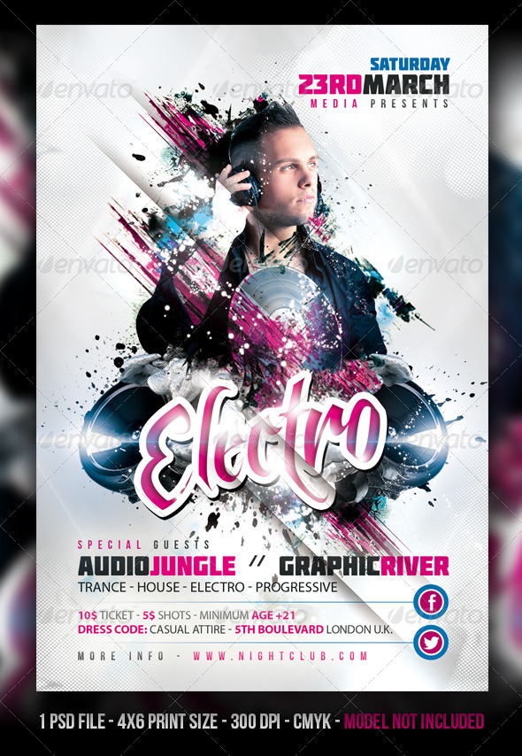 Minimal  Electro  House Party Flyer By Fadeink  Graphicriver