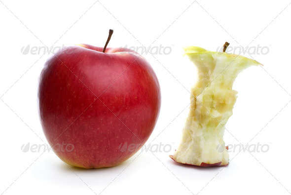 Whole apple and core - Stock Photo - Images