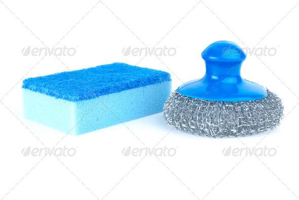 Metal scrub and blue sponge - Stock Photo - Images