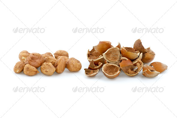 Pile of shelled hazelnuts and shells - Stock Photo - Images