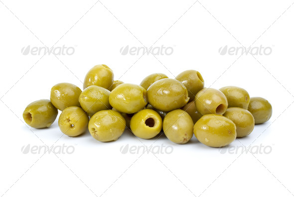 Pile of  green pitted olives - Stock Photo - Images