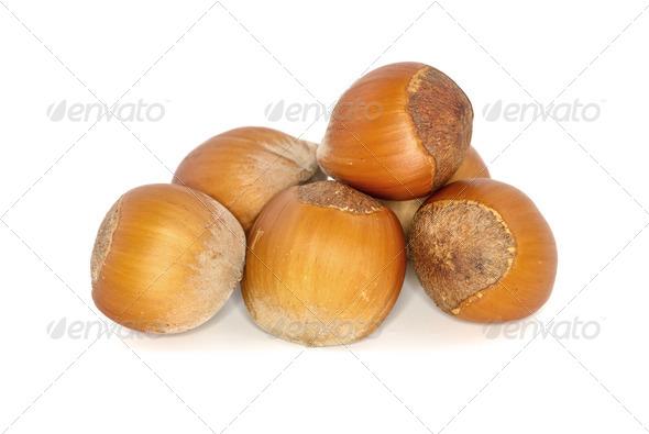 Few hazelnuts - Stock Photo - Images