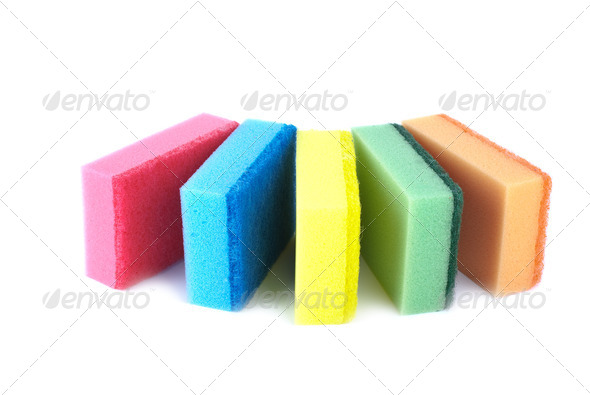 Five sponges of different colors - Stock Photo - Images