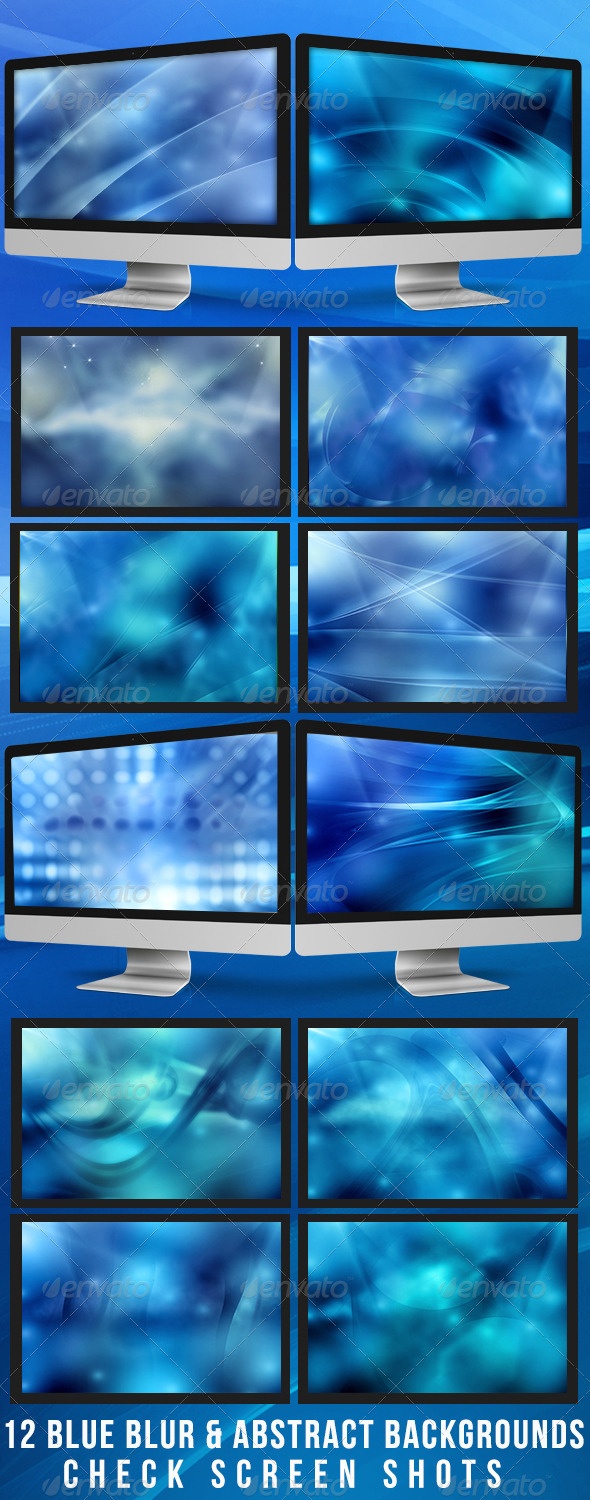12 Blue Blurred & Abstract Backgrounds - Backgrounds Graphics