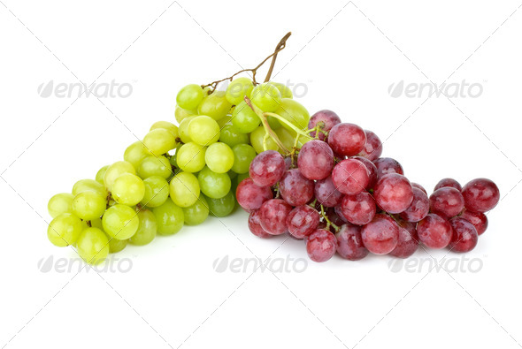 Green and pink grapes isolated on the white background - Stock Photo - Images