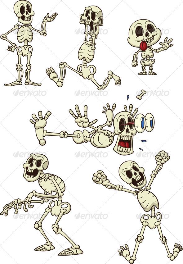Cartoon Skeletons by memoangeles | GraphicRiver