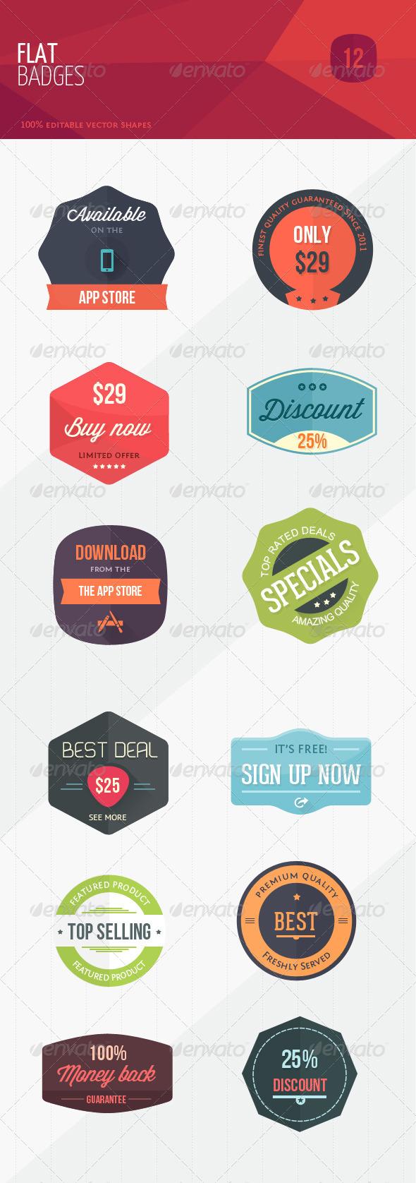 12 Flat Sweet Marketing Badges - Badges & Stickers Web Elements