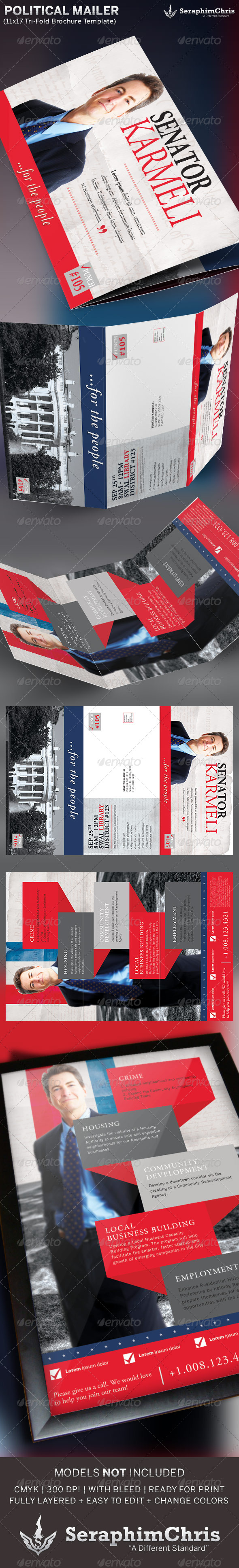 large political tri fold brochure mailer template corporate brochures