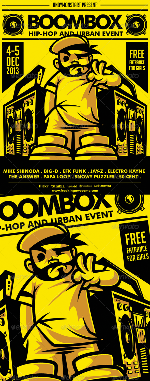 Boombox Hip-Hop and Urban Flyer - Concerts Events