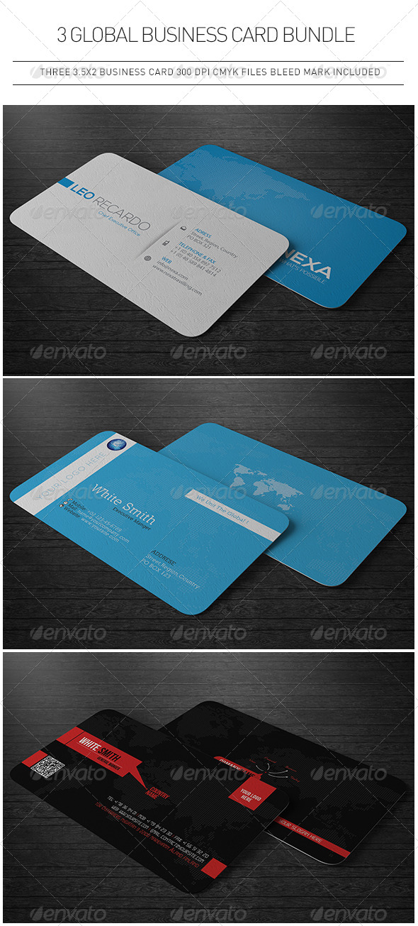 3 Global Business Cards Bundle by Unicogfx | GraphicRiver