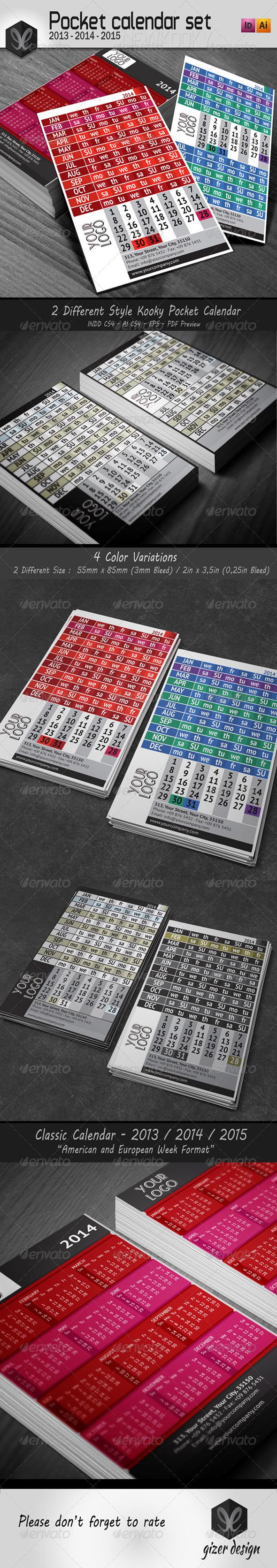 Pocket Calendar 2014 - 2013 - 2015 Set / New Kooky - Calendars Stationery