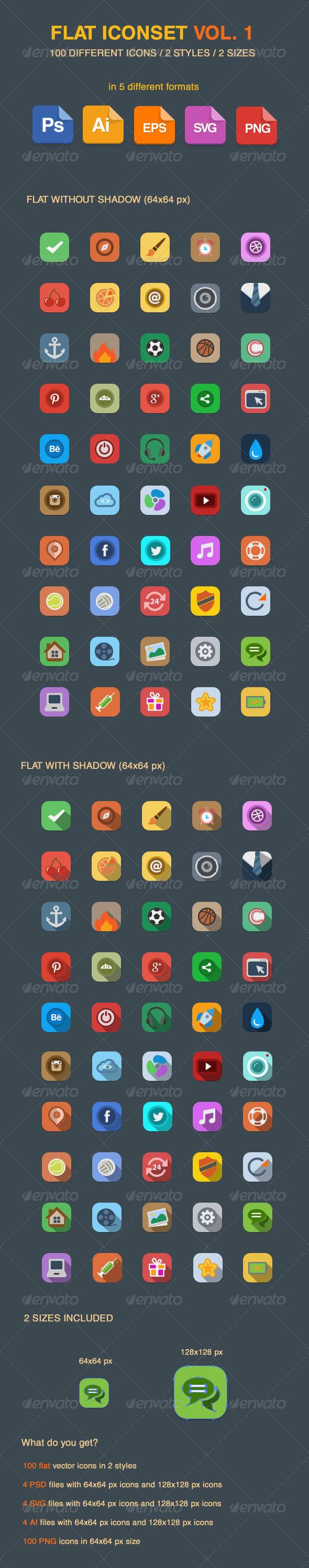 Flat Vector Iconset Vol 1 - Web Icons