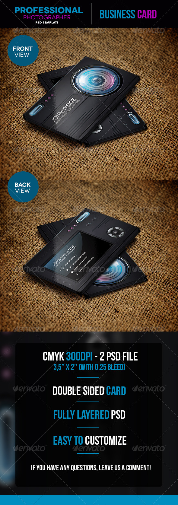 Professional Photographer Business Card - Business Cards Print Templates