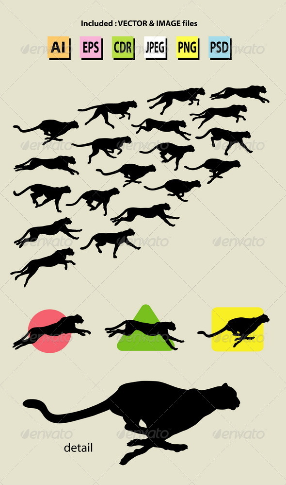 Running Cheetah Symbol and Silhouettes - Animals Characters