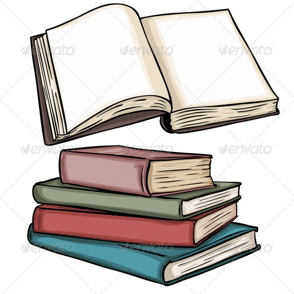 open and stacked books by nikiteev graphicriver